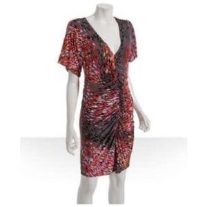Ali Ro Pewter Flame Jersey Ruched V Neck Dress